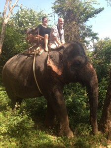 Matt and Denise on an elephant
